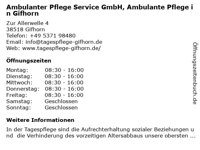 Ambulanter Pflegeservice GmbH in Gifhorn: Adresse und Öffnungszeiten