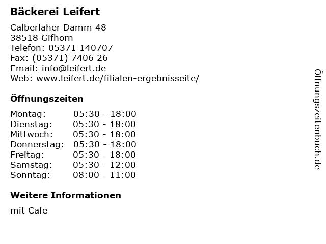 Bäckerei Leifert in Gifhorn: Adresse und Öffnungszeiten