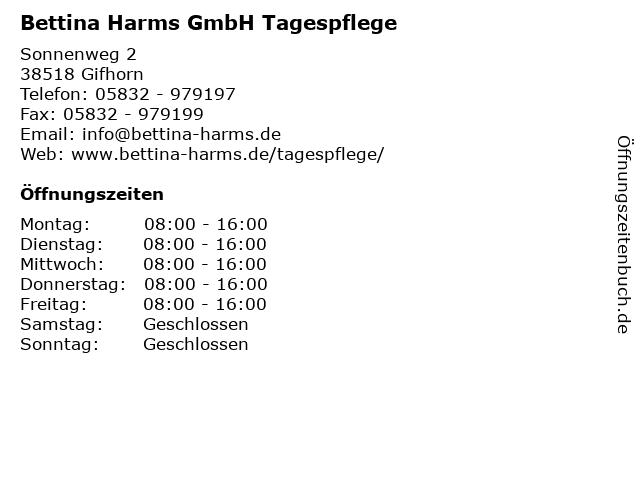 Bettina Harms GmbH Tagespflege in Gifhorn: Adresse und Öffnungszeiten