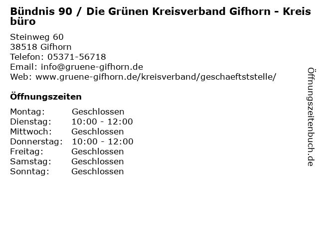 Bündnis 90 / Die Grünen Kreisverband Gifhorn - Kreisbüro in Gifhorn: Adresse und Öffnungszeiten
