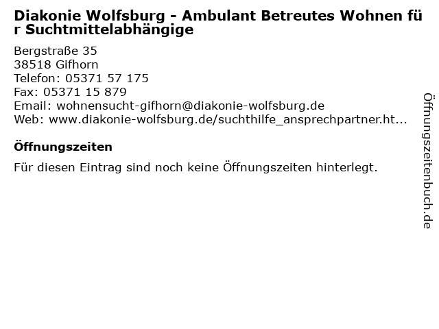 Diakonie Wolfsburg - Ambulant Betreutes Wohnen für Suchtmittelabhängige in Gifhorn: Adresse und Öffnungszeiten