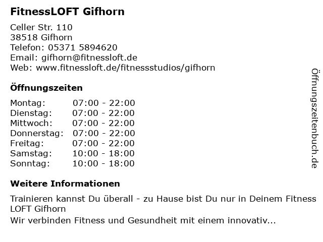 FitnessLOFT Gifhorn in Gifhorn: Adresse und Öffnungszeiten
