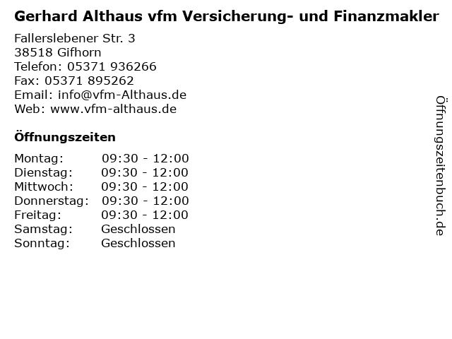ᐅ Offnungszeiten Gerhard Althaus Vfm Versicherung Und