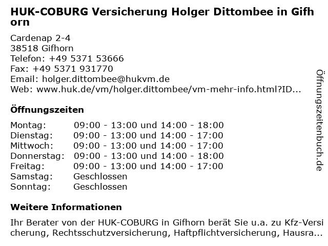 ᐅ Offnungszeiten Huk Coburg Versicherung Holger Dittombee In