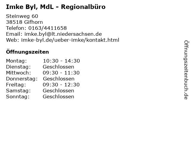 Imke Byl, MdL - Regionalbüro in Gifhorn: Adresse und Öffnungszeiten
