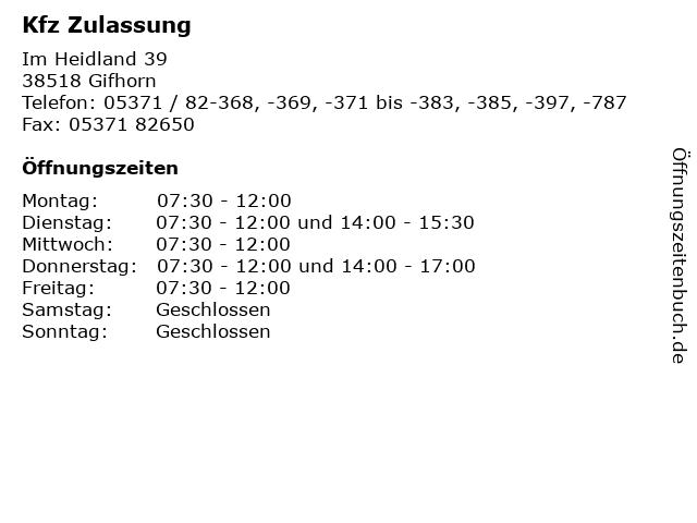 Kfz Zulassung in Gifhorn: Adresse und Öffnungszeiten