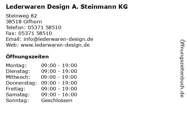 Lederwaren Design A. Steinmann KG in Gifhorn: Adresse und Öffnungszeiten