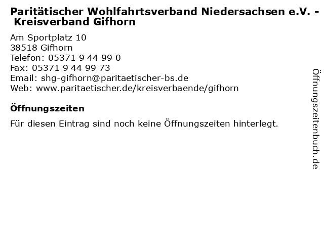 Paritätischer Wohlfahrtsverband Niedersachsen e.V. - Kreisverband Gifhorn in Gifhorn: Adresse und Öffnungszeiten