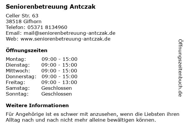 Seniorenbetreuung Antczak in Gifhorn: Adresse und Öffnungszeiten