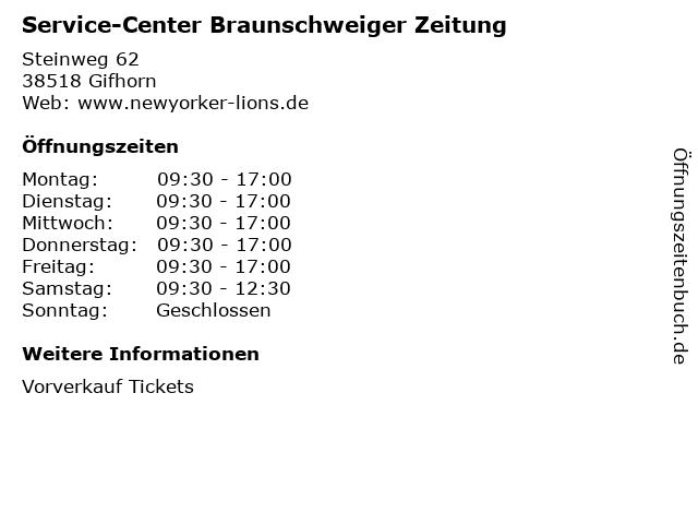 Service-Center Braunschweiger Zeitung in Gifhorn: Adresse und Öffnungszeiten
