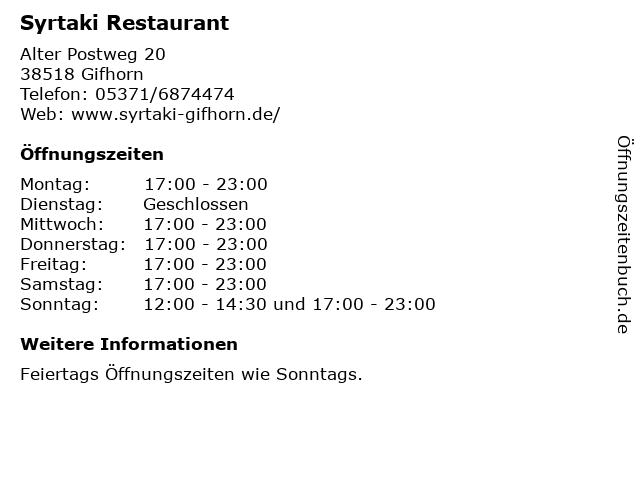 Syrtaki Restaurant in Gifhorn: Adresse und Öffnungszeiten