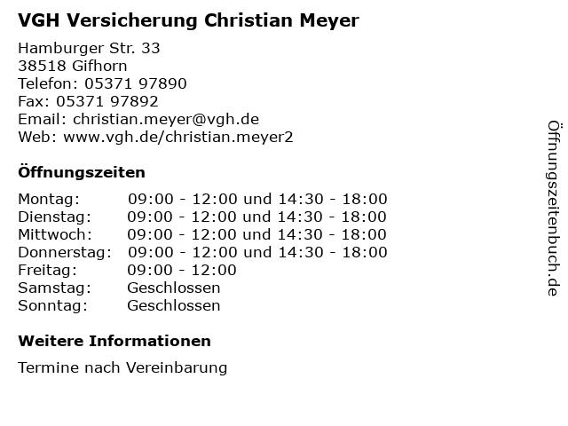 ᐅ Offnungszeiten Vgh Versicherung Christian Meyer Hamburger Str