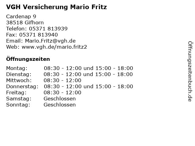 ᐅ Offnungszeiten Vgh Versicherung Mario Fritz Cardenap 9 In Gifhorn