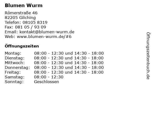 Blumen Wurm in Gilching: Adresse und Öffnungszeiten