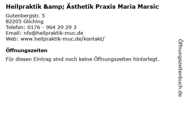 Heilpraktikerin Maria Marsic in Planegg: Adresse und Öffnungszeiten