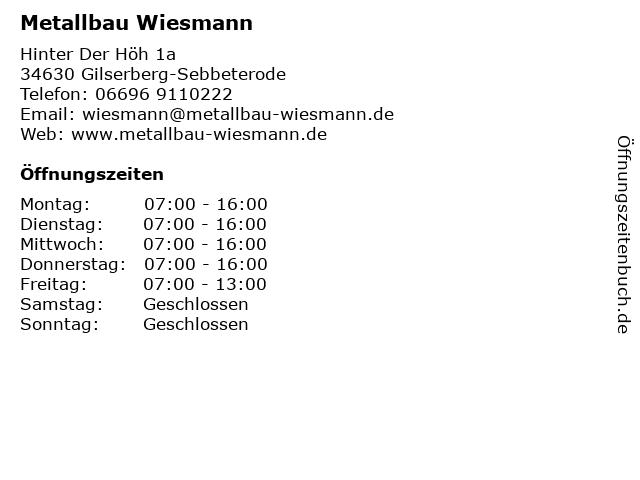 Metallbau Wiesmann in Gilserberg: Adresse und Öffnungszeiten