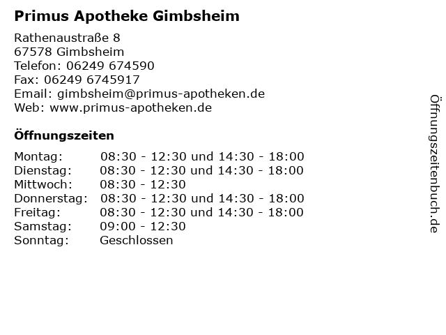Primus Apotheke in Gimbsheim: Adresse und Öffnungszeiten