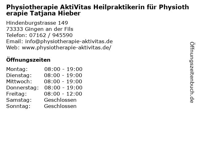 Physiotherapie AktiVitas Heilpraktikerin für Physiotherapie Tatjana Hieber in Gingen an der Fils: Adresse und Öffnungszeiten