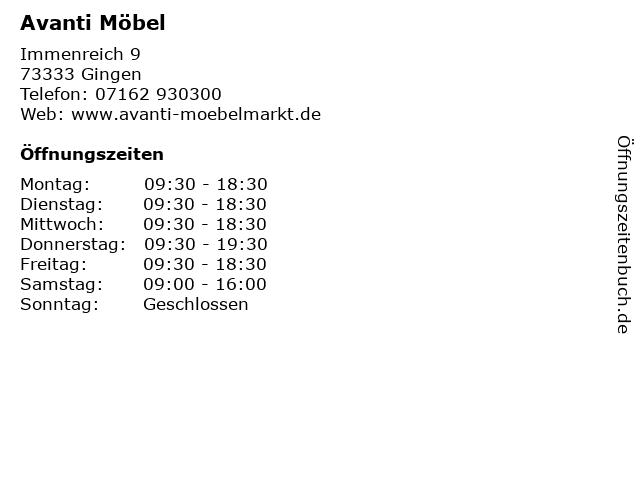 Avanti Möbel in Gingen: Adresse und Öffnungszeiten