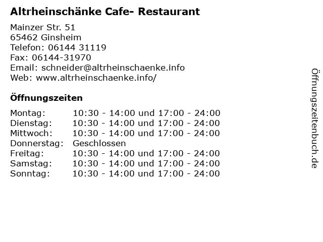 Altrheinschänke Cafe- Restaurant in Ginsheim: Adresse und Öffnungszeiten