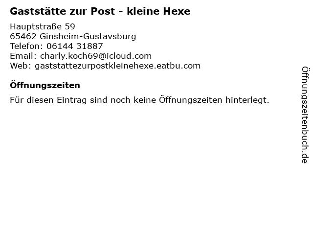 Gaststätte zur Post - kleine Hexe in Ginsheim-Gustavsburg: Adresse und Öffnungszeiten