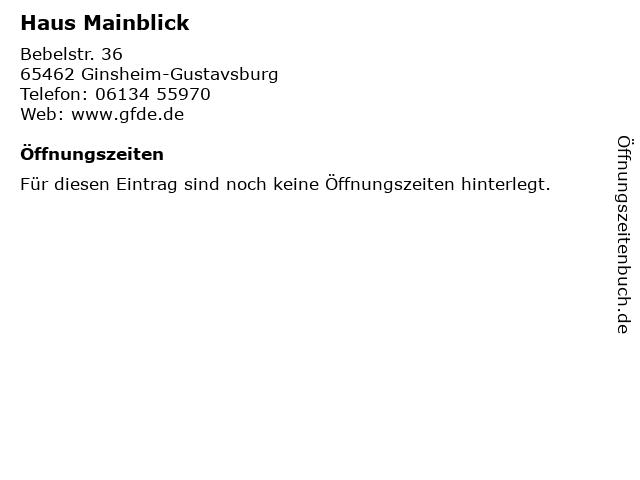 Haus Mainblick in Ginsheim-Gustavsburg: Adresse und Öffnungszeiten