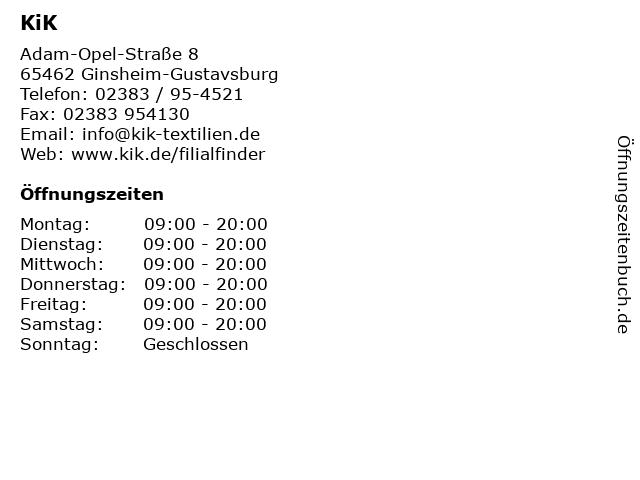 KiK in Ginsheim-Gustavsburg: Adresse und Öffnungszeiten