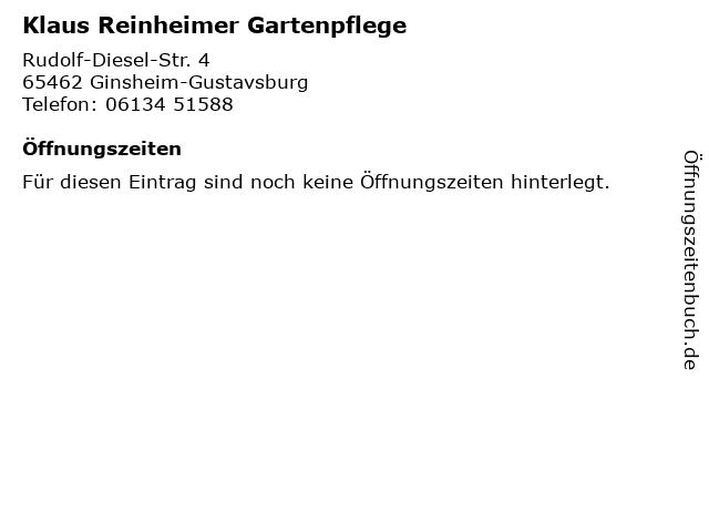 Klaus Reinheimer Gartenpflege in Ginsheim-Gustavsburg: Adresse und Öffnungszeiten