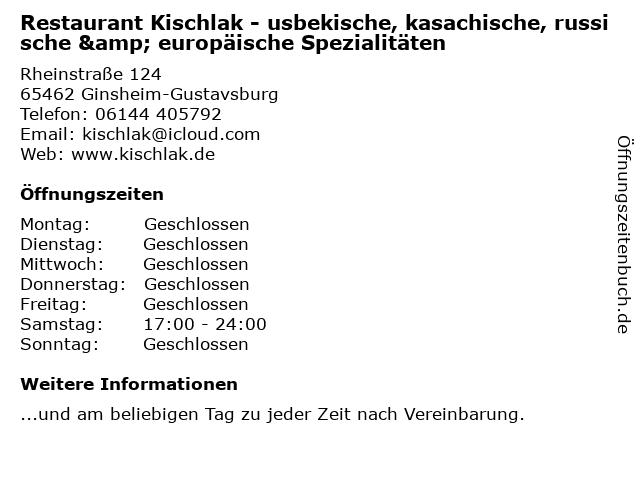 Restaurant Kischlak - usbekische, kasachische, russische & europäische Spezialitäten in Ginsheim-Gustavsburg: Adresse und Öffnungszeiten