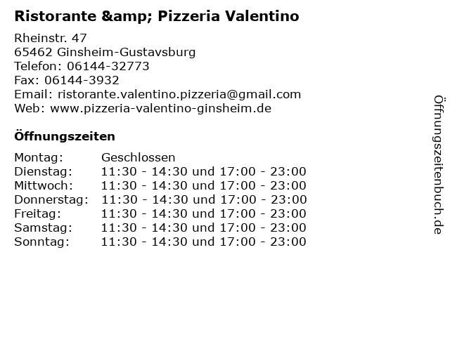 Ristorante & Pizzeria Valentino in Ginsheim-Gustavsburg: Adresse und Öffnungszeiten