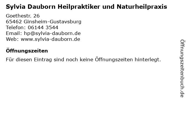 Sylvia Dauborn Heilpraktiker und Naturheilpraxis in Ginsheim-Gustavsburg: Adresse und Öffnungszeiten