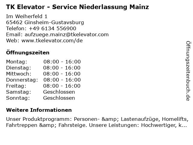 TK Elevator - Service Niederlassung Mainz in Ginsheim-Gustavsburg: Adresse und Öffnungszeiten