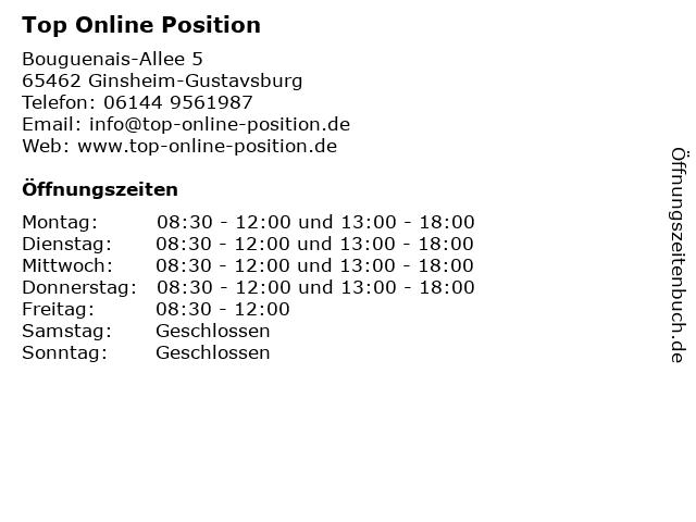 Top Online Position in Ginsheim-Gustavsburg: Adresse und Öffnungszeiten
