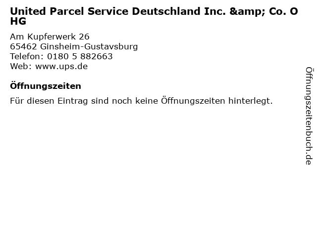 United Parcel Service Deutschland Inc. & Co. OHG in Ginsheim-Gustavsburg: Adresse und Öffnungszeiten