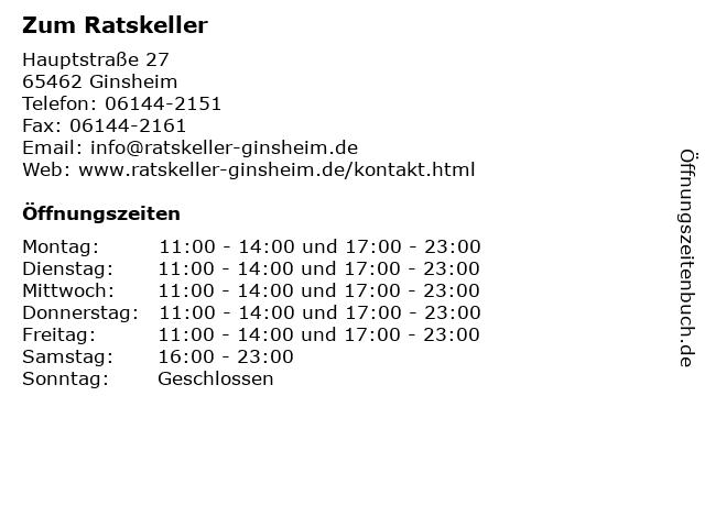 Zum Ratskeller in Ginsheim: Adresse und Öffnungszeiten