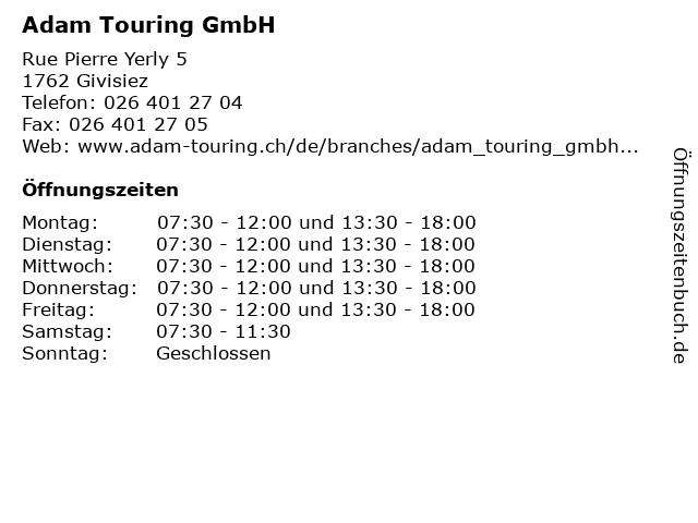 Adam Touring GmbH in Givisiez: Adresse und Öffnungszeiten
