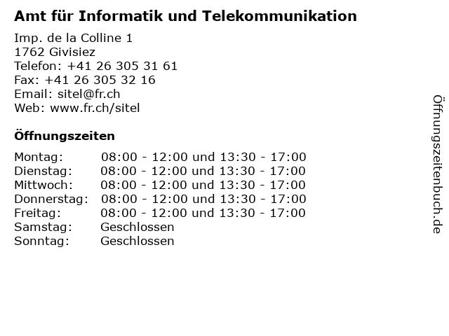 Amt für Informatik und Telekommunikation in Givisiez: Adresse und Öffnungszeiten