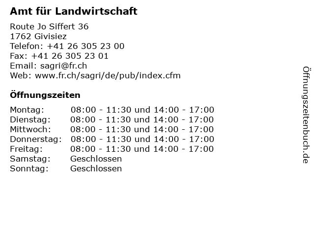 Amt für Landwirtschaft in Givisiez: Adresse und Öffnungszeiten