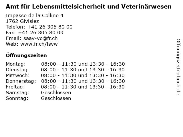 Amt für Lebensmittelsicherheit und Veterinärwesen in Givisiez: Adresse und Öffnungszeiten