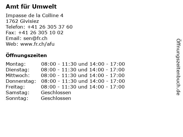 Amt für Umwelt in Givisiez: Adresse und Öffnungszeiten