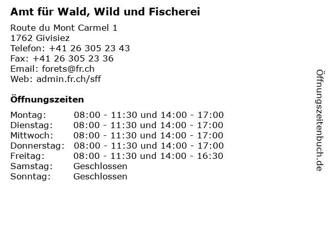 Amt für Wald, Wild und Fischerei in Givisiez: Adresse und Öffnungszeiten