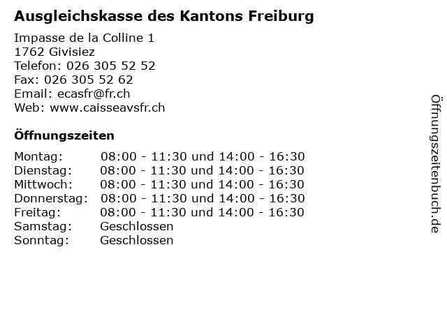 Ausgleichskasse des Kantons Freiburg in Givisiez: Adresse und Öffnungszeiten