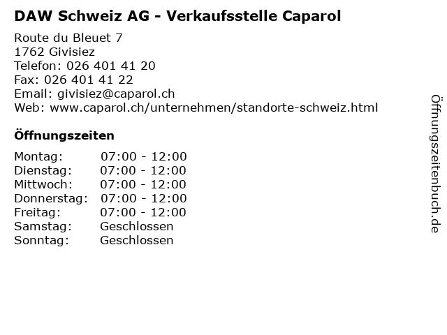 DAW Schweiz AG - Verkaufsstelle Caparol in Givisiez: Adresse und Öffnungszeiten