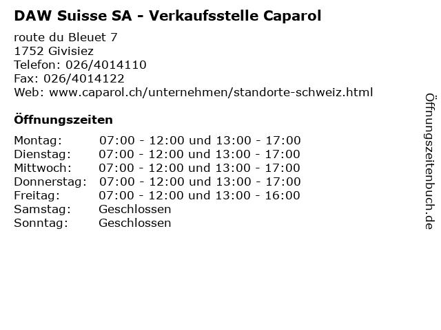 DAW Suisse SA - Verkaufsstelle Caparol in Givisiez: Adresse und Öffnungszeiten