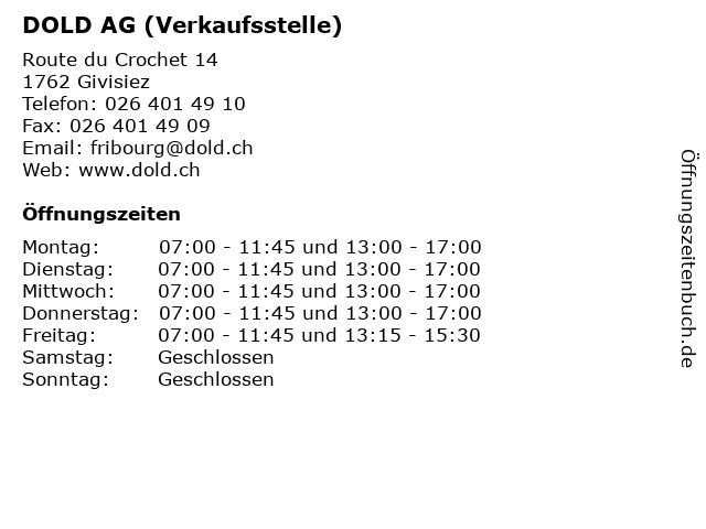 DOLD AG (Verkaufsstelle) in Givisiez: Adresse und Öffnungszeiten