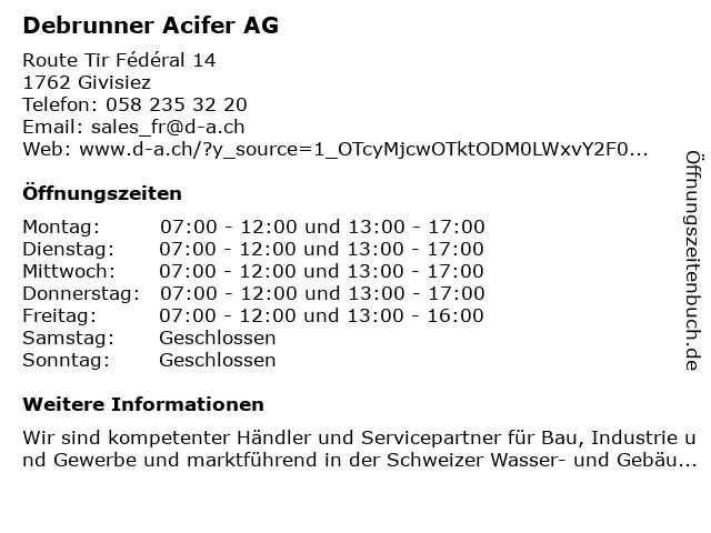 Debrunner Acifer AG in Givisiez: Adresse und Öffnungszeiten