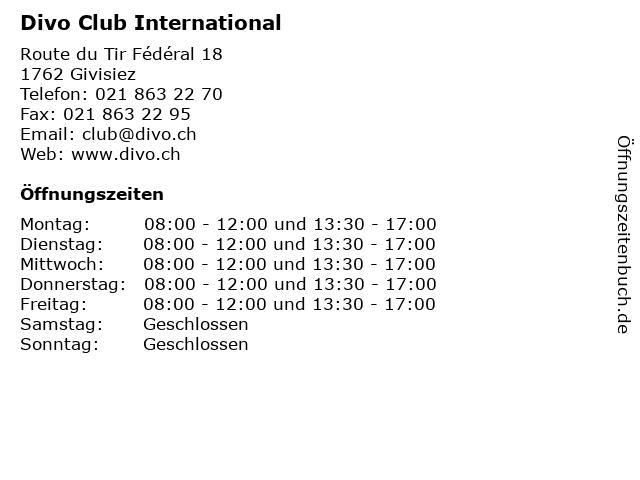 Divo Club International in Givisiez: Adresse und Öffnungszeiten