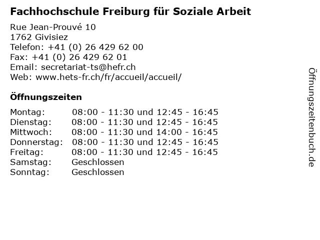 Fachhochschule Freiburg für Soziale Arbeit in Givisiez: Adresse und Öffnungszeiten