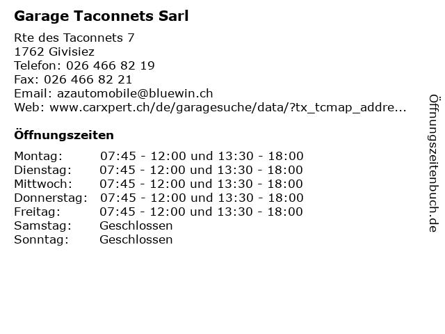 Garage Taconnets Sarl in Givisiez: Adresse und Öffnungszeiten