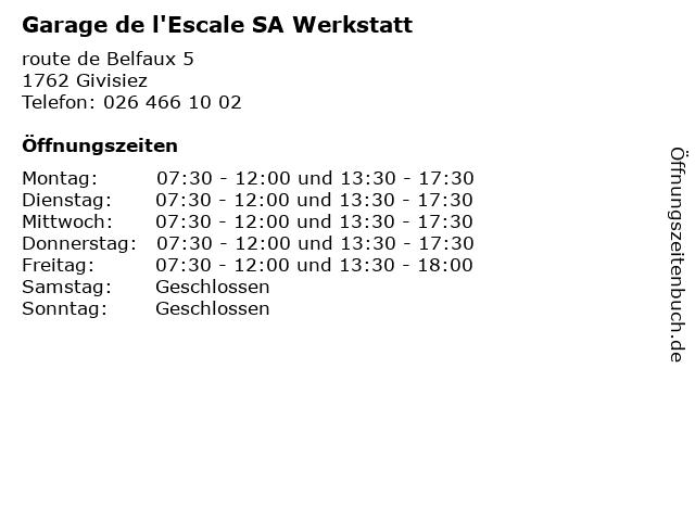 Garage de l'Escale SA Werkstatt in Givisiez: Adresse und Öffnungszeiten